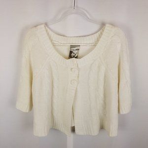 Extra Touch cable knit button front sweater 1X